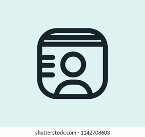 Id card icon line isolated on clean background. Id card icon concept drawing icon line in modern style.  illustration for your web mobile logo app UI design.