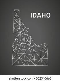 Idaho black outline polygonal triangle map