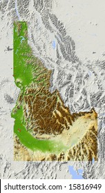 Idaho. Shaded relief map, with major urban areas and rivers, surrounding territory greyed out. Colored according to elevation. Clipping path for the state area included. Data source: NASA