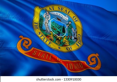 Idaho state flag. 3D Waving American United States flag design. Symbol of Idaho and Boise, 3D rendering. Idaho Waving state flag concept.Waving US American state flags background