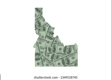 Idaho State Map and Money Concept, Hundred Dollar Bills