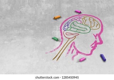 Idea of autism and autistic development disorder as a symbol of a communication and social behavior psychology as a chalk drawing on asphalt in a 3D illustration style.