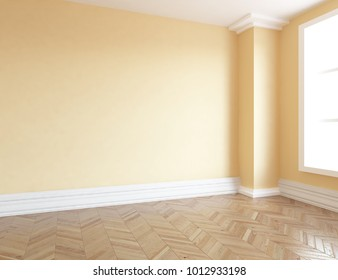 Idea of a beige empty scandinavian room interior with large wall and white landscape in window. Home nordic interior. 3D illustration