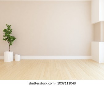 Idea of a beige empty scandinavian room interior with plant in vases and large wall and white landscape in window. Home nordic interior. 3D illustration