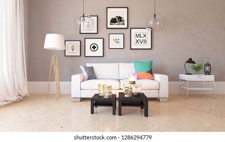 Idea of a beige scandinavian living room interior with sofa, dresser vases on the wooden floor and pictures on the large wall and white landscape in window. Home nordic interior. 3D illustration