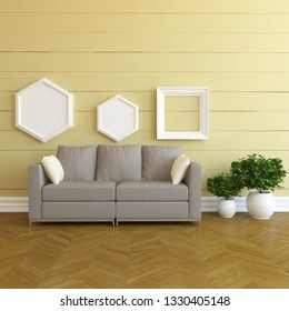 Idea of a beige scandinavian living room interior with sofa, plants in vases on the wooden floor and decor on the large wall and white landscape in window. Home nordic interior. 3D illustration