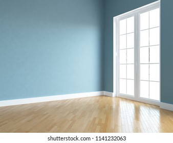 Idea of a blue empty scandinavian room interior with wooden floor and large wall and white landscape in window. Home nordic interior. 3D illustration