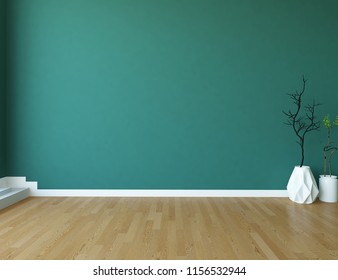 Idea of a blue empty scandinavian room interior with vases on the wooden floor and large wall and white landscape in window. Home nordic interior. 3D illustration