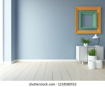 Idea of a blue empty scandinavian room interior with dresser on the wooden floor and frames on the large wall and white landscape in window. Home nordic interior. 3D illustration