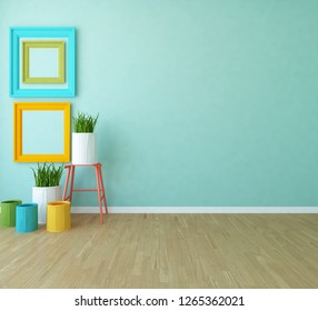 Idea of a blue empty scandinavian room interior with vases on the wooden floor and frames on the large wall and white landscape in window. Home nordic interior. 3D illustration