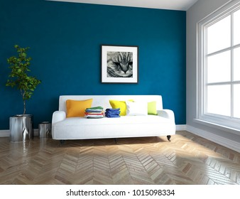 Idea of a blue scandinavian living room interior with sofa, plants in vases on the wooden floor and picture on the large wall and white landscape in window. Home nordic interior. 3D illustration