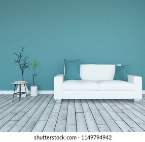 Idea of a blue scandinavian living room interior with sofa, vases on the wooden floor and decor on the large wall and white landscape in window. Home nordic interior. 3D illustration