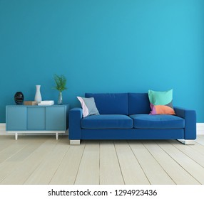 Idea of a blue scandinavian living room interior with sofa, dresser on the wooden floor and decor on the large wall and white landscape in window. Home nordic interior. 3D illustration