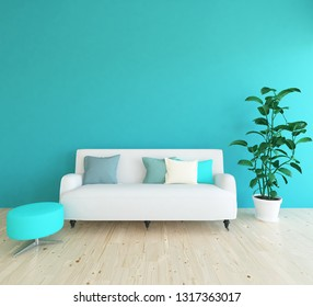 Idea of a blue scandinavian living room interior with sofa, vase with plant on the wooden floor and decor on the large wall and white landscape in window. Home nordic interior. 3D illustration