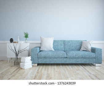 Idea of a blue scandinavian living room interior with sofa, dresser, vases on the wooden floor and decor on the large wall and white landscape in window. Home nordic interior. 3D illustration
