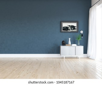 Idea of a blue scandinavian room interior with dresser on the wooden floor and picture on the large wall and white landscape in window with curtains. Home nordic interior. 3D illustration