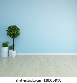 Idea of a blue scandinavian room interior with vases on the wooden floor and large wall and white landscape in window. Background interior. Home nordic interior. 3D illustration