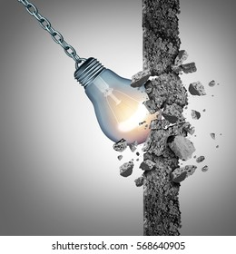 Idea breakthrough and the power to demolish an obstacle with creative thinking and innovative solutions as a light bulb shaped as a wrecking ball with 3D illustration elements.