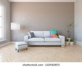 Idea of a browm scandinavian living room interior with sofa, vases on the wooden floor and decor on the large wall and white landscape in window. Home nordic interior. 3D illustration