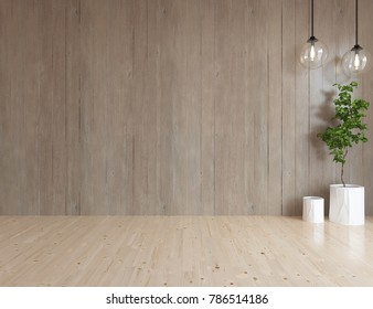 Idea of a brown empty scandinavian room interior with wooden wall and white landscape in window. Home nordic interior. 3D illustration
