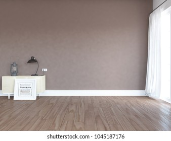 Idea of a brown scandinavian room interior with dresser on the wooden floor and large wall and white landscape in window with curtains. Home nordic interior. 3D illustration