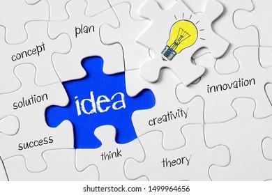 Idea, business puzzle, missing element