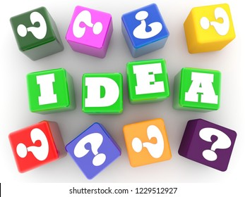Idea concept on green cubes with colorful question marks around.3d illustration
