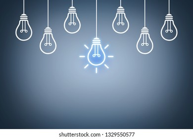 Idea Concepts with Light Bulb on Touch Screen