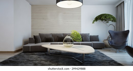 Idea of contemporary living room. Combined wall decoration. Living room with dark furniture and light wooden table. 3D render