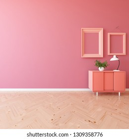 Idea of a coral empty scandinavian room interior with dresser on the wooden floor and frames on the large wall and white landscape in window. Background interior. Home nordic interior. 3D illustration