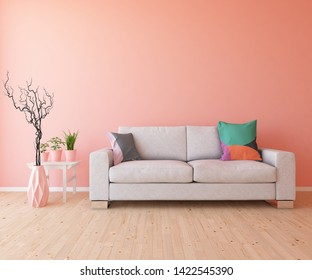 Idea of a coral scandinavain living room interior with sofa, vases on the wooden floor and decor on the large wall and white landscape in window. Home nordic interior. 3D illustration