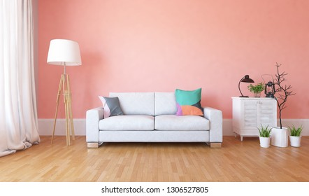 Idea of a coral scandinavian living room interior with sofa, dresser, vases on the wooden floor and decor on the large wall and white landscape in window. Home nordic interior. 3D illustration