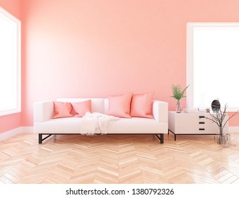 Idea of a coral scandinavian living room interior with sofa, dresser, vase on the wooden floor and decor on the large wall and white landscape in windows. Home nordic interior. 3D illustration
