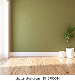 Idea of a green empty scandinavian room interior with plant in vases on the wooden floor and large wall and white landscape in window. Home nordic interior. 3D illustration