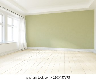 Idea of a green empty scandinavian room interior with vases on the wooden floor and large wall and white landscape in window. Home nordic interior. 3D illustration
