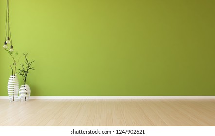 Idea of a green empty scandinavian room interior with vases on the wooden floor and large wall and white landscape in window. Home nordic interior . 3D illustration