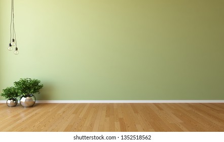 Idea of a green empty scandinavian room interior with plants in vases on the wooden floor and large wall and white landscape in window. Background interior. Home nordic interior. 3D illustration