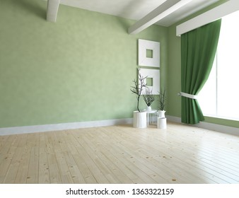 Idea of a green empty scandinavian room interior with vases on the wooden floor and large wall and white landscape in window. Background interior. Home nordic interior. 3D illustration