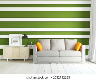 Idea of a green scandinavian living room interior with sofa, dresser on the floor and decor on the large wall and white landscape in window with curtains. Home nordic interior. 3D illustration