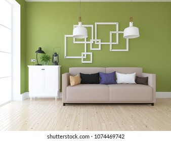Idea of a green scandinavian living room room interior with sofa, dresser on the wooden floor and decor on the large wall and white landscape in window. Home nordic interior. 3D illustration