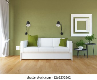 Idea of a green scandinavian living room interior with sofa, vases on the wooden floor and decor on the large wall and white landscape in window with curtains. Home nordic interior. 3D illustration