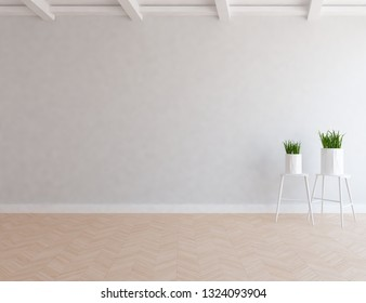 Idea of a grey empty scandinavian room interior with vases on the wooden floor and large wall and white landscape in window. Home nordic interior. 3D illustration