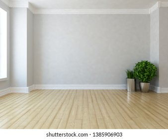 Idea of a grey empty scandinavian room interior with vases on the wooden floor and large wall and white landscape in window. Background interior. Home nordic interior. 3D illustration