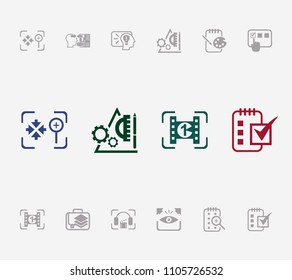 Idea icon set and prototyping with sketchpad, testing and explore. Cinematography related idea icon  for web UI logo design.