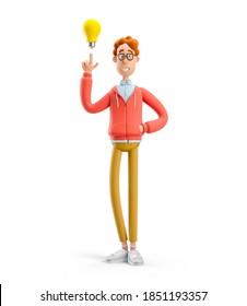 Konzept der Ideen und Innovationstechnologie. Nerd Larry mit Glühbirne. 3D-Abbildung.