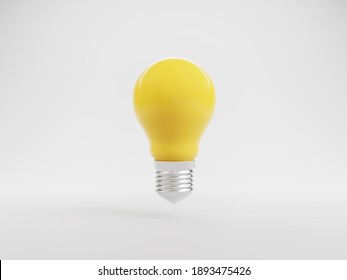 Idea and innovation, Yellow light bulb symbol on white background, brainstorming for Creativity inspiration and saving electricity concept. 3d rendering