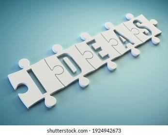 Idea jigsaw puzzle pieces concept, 3d rendering