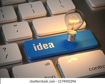 idea key on the keyboard, 3d rendering,conceptual image.