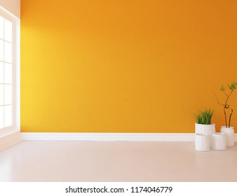 Idea of a orange empty scandinavian room interior with vases on the wooden floor and large wall and wbite landscape in window. Home nordic interior. 3D illustration
