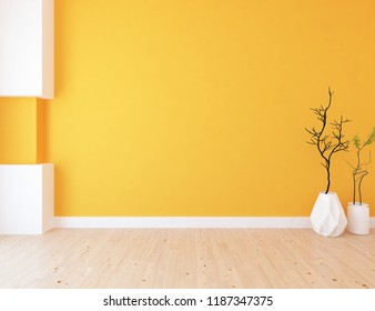Idea of a orange empty scandinavian room interior with vases on the wooden floor and large wall and white landscape in window. Home nordic interior. 3D illustration